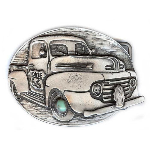 Route 66 Pick up Truck Belt Buckle
