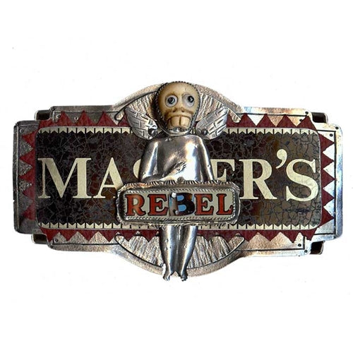 Rebel with Bone Skull Belt Buckle