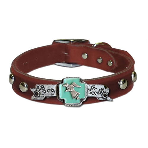 In Dog We Trust Collar in Black & Brown (Plain/Studded)