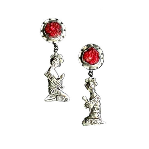 Miracles Fall Like Roses (Red) Earrings