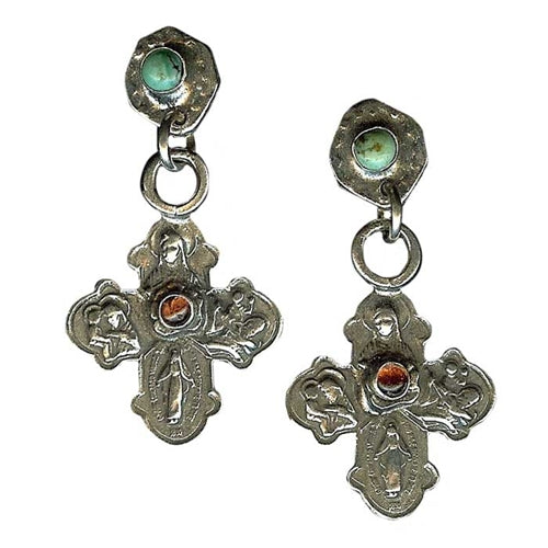 Turquoise & Garnet Cross Earrings
