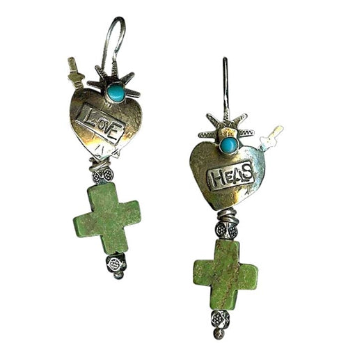 Love Heals with Turquoise Cross Earrings