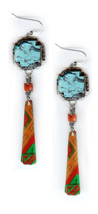 Turquoise Cross Scrap Earrings