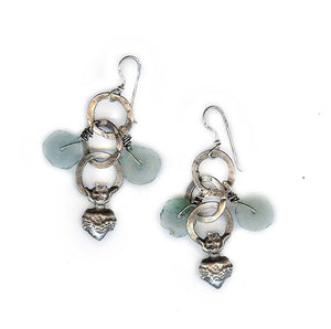 Sacred Heart with Recycled Glass Earrings