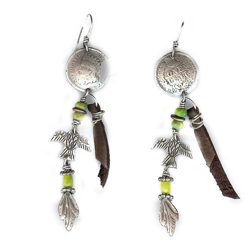 Indian Head Coin with Thunderbird Earrings