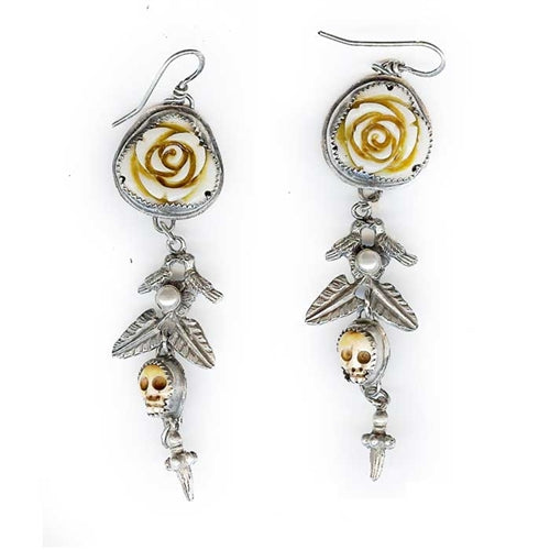 Carved Flowers with Skull Earrings