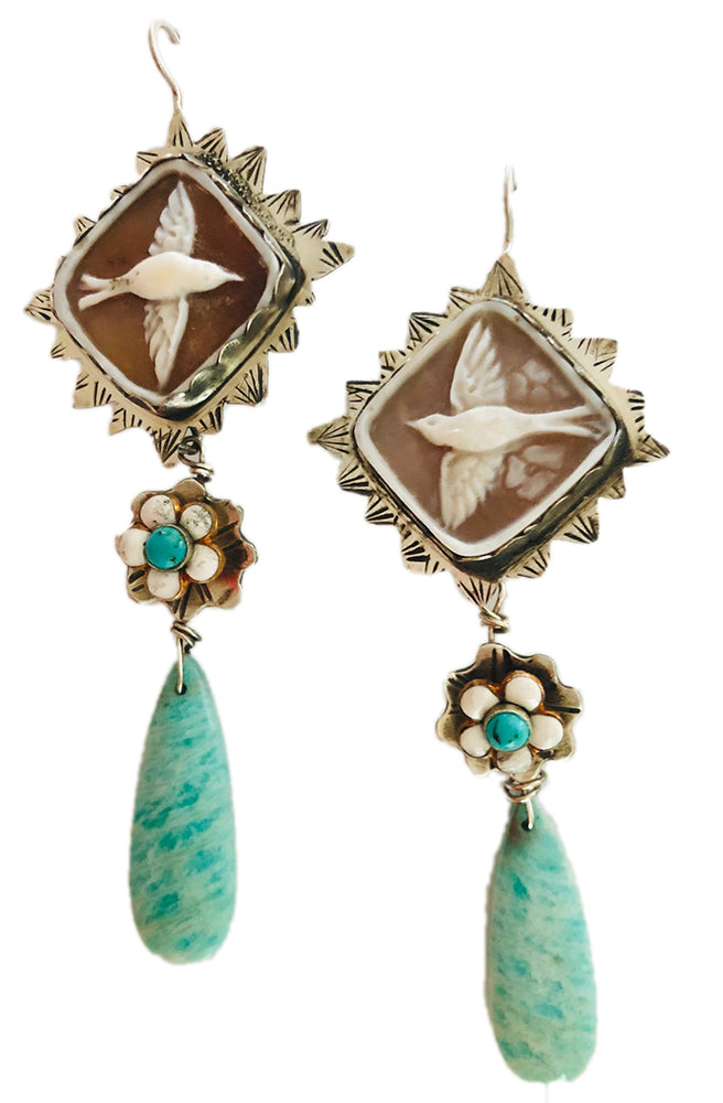 Cameo Bird Earrings