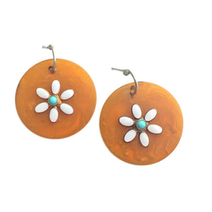 Flower Disc Earrings