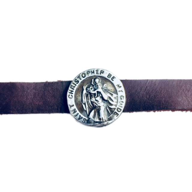 Saint Christopher Be My Guide Leather Cuff