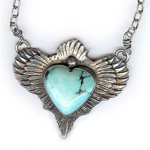 Sacred Heart with Wings Necklace