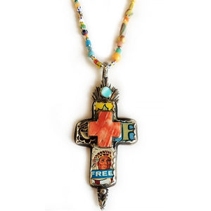 Tin Cross with Spiny Oyster Pendant