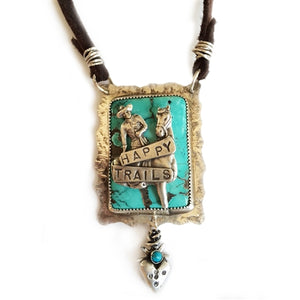 Happy Trails on Leather Pendant