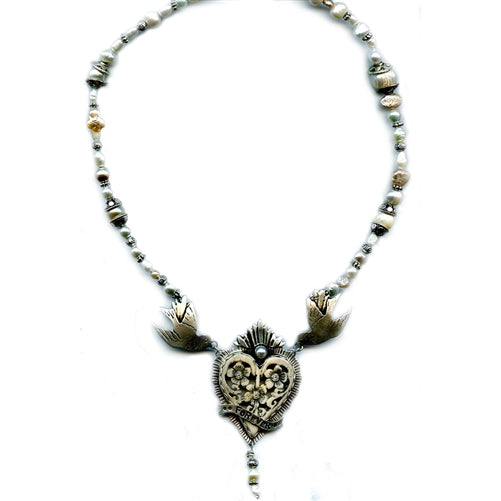 Forever Heart with Swallows & Pearls Pendant