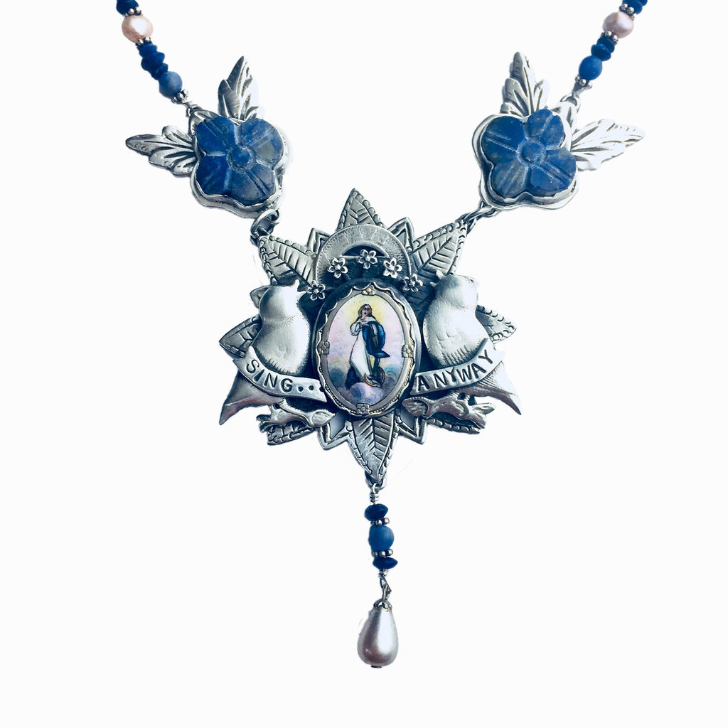 Sing Anyway With Mary & Lapis Necklace
