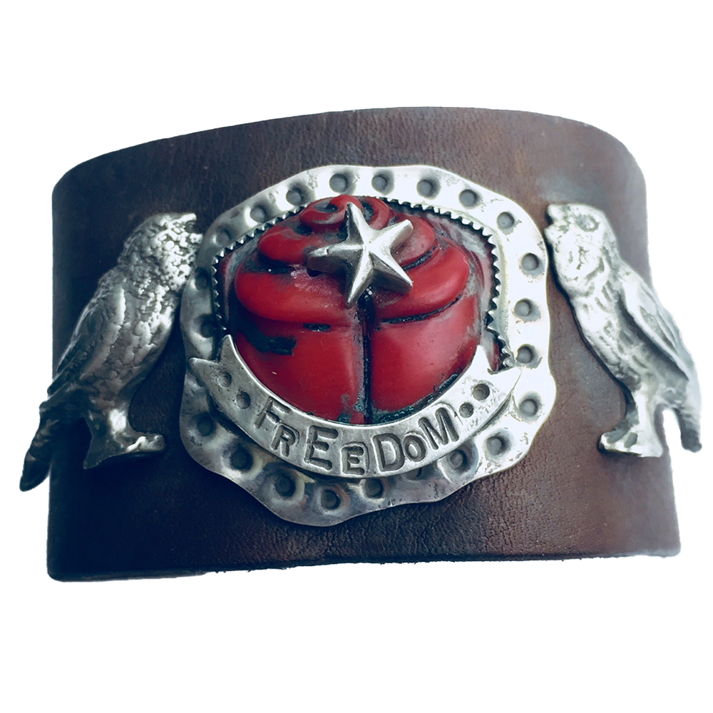 Freedom Sings Leather Cuff
