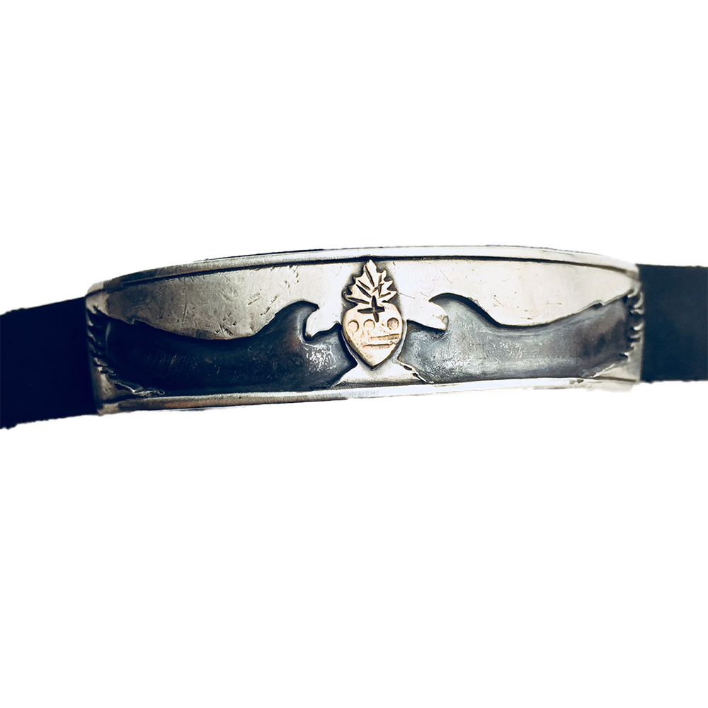 Birds With Sacred Heart Leather Cuff
