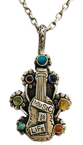 Music Is Life With Guitar Necklace