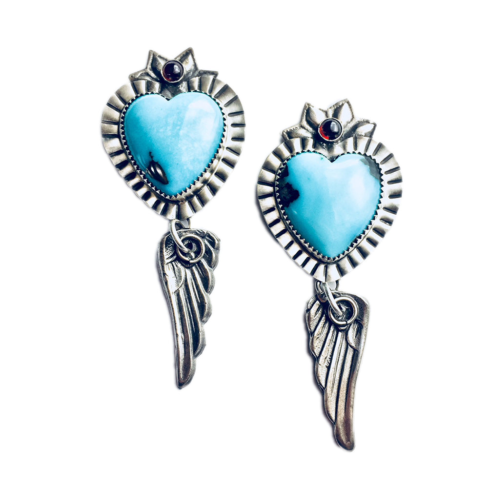 Turquoise Heart with Wings Earrings