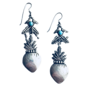 Love Birds With Flaming Heart With Turquoise Earrings