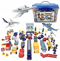 57 Piece Kids Commercial Airport Playset in Storage Bucket Airplane
