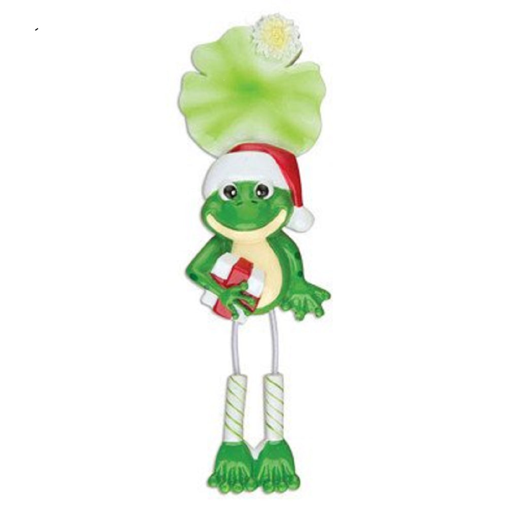 Single Frog Dangling Personalized Christmas Tree Ornament Xmas Green Noel Gift