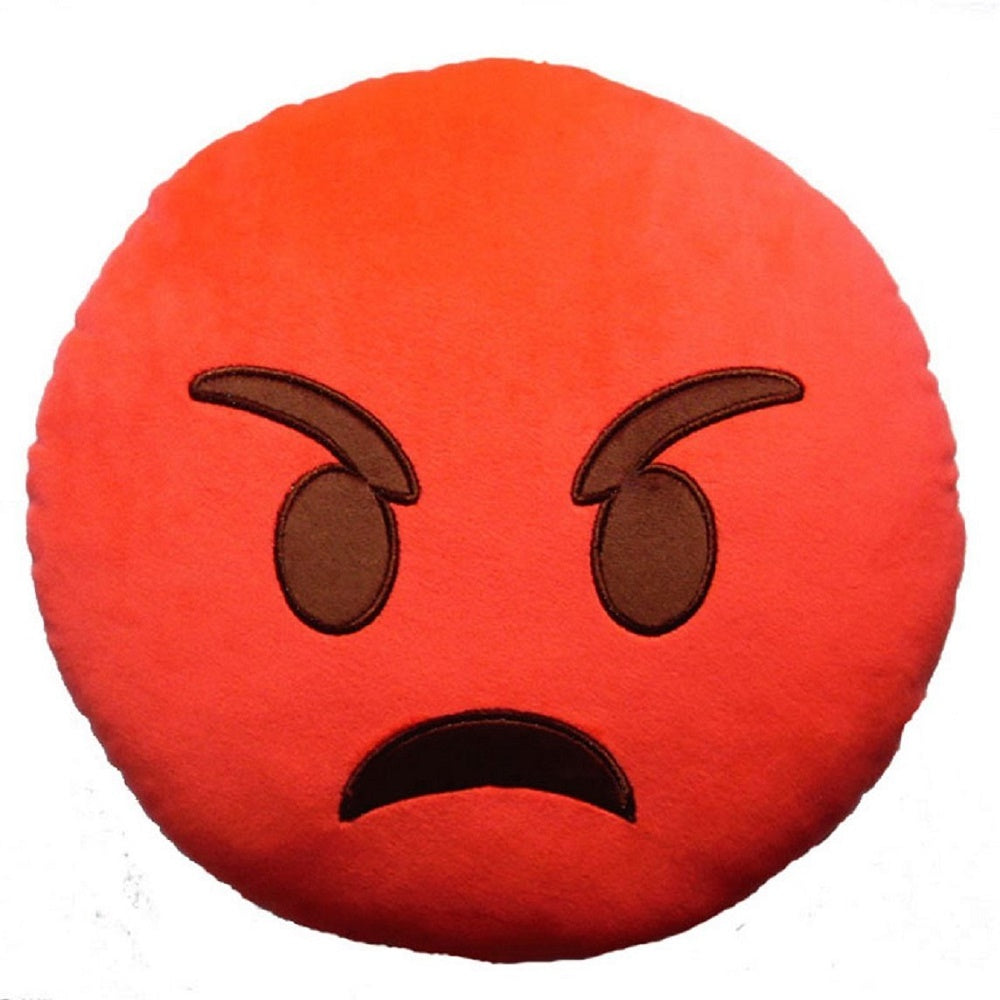 "RED ANGRY EMOJI PILLOW, 12"" INCHES"