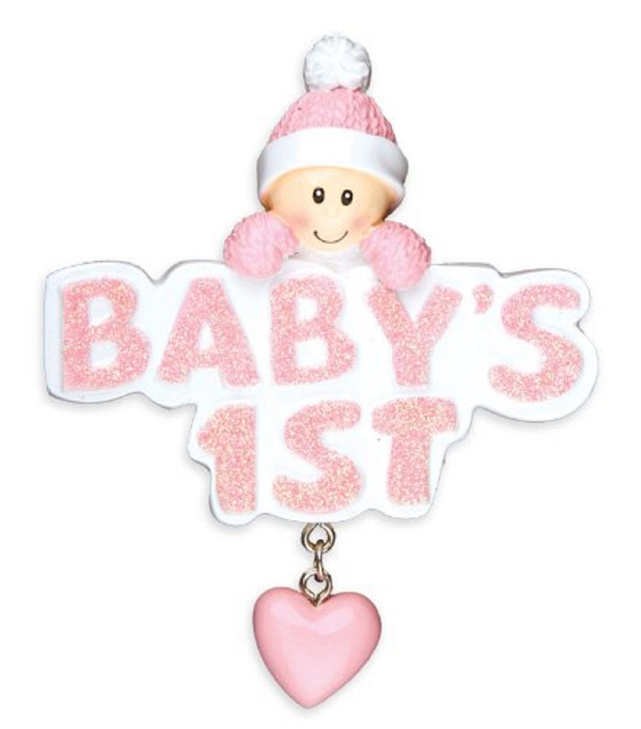 Baby's First Girl Personalized Christmas Tree Ornament Xmas Noel Pink Cap 1st