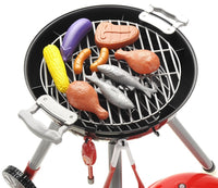 BBQ Grill PlaySet Toy Food Barbeque Play Cookout Picnic Set Portable