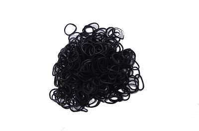 PLAIN BLACK 600 Pcs Bag DIY LOOM RUBBER BAND REFILLS