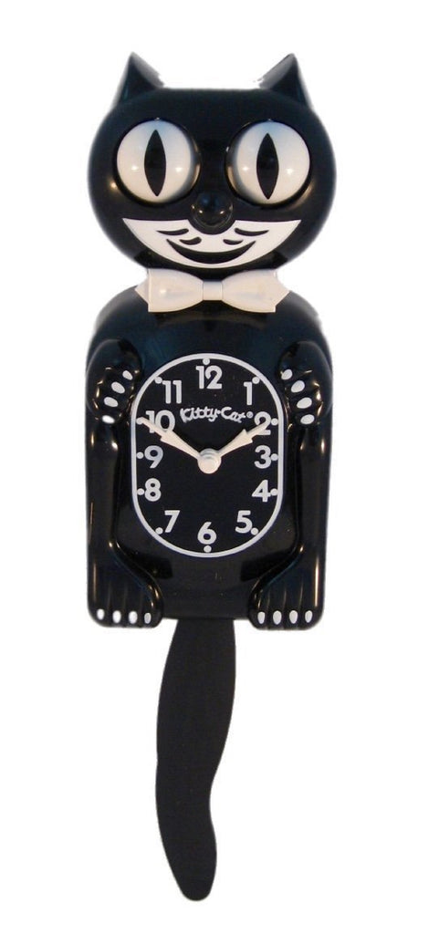 "CLASSIC VINTAGE RETRO KIT-CAT KLOCK 12 3/4"" BLACK CLOCK ROLLING EYES TAIL KITTY"