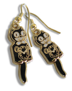 Classic Vintage Retro Kit-Cat Klock Black/Gold Earrings Clock Rolling Eyes Kitty