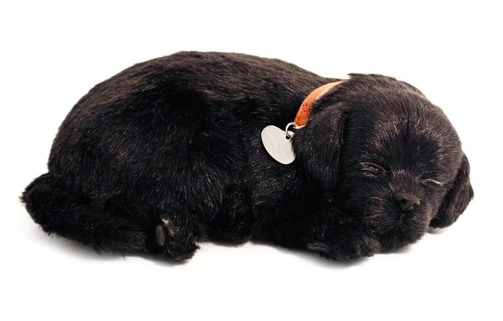 PERFECT PETZZZ BLACK LAB PLUSH PUPPY BREATHING HUGGABLE ANIMAL DOG REAL PET SOFT
