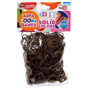 BROWN 600 Pcs Bag DIY LOOM RUBBER BAND REFILLS
