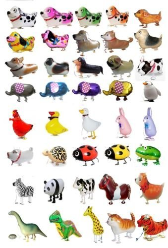 GIFT DEPOT® TM SET/LOT OF 60 WALKING ANIMAL BALLOON PETS AIRWALKERS FOIL HELIUM