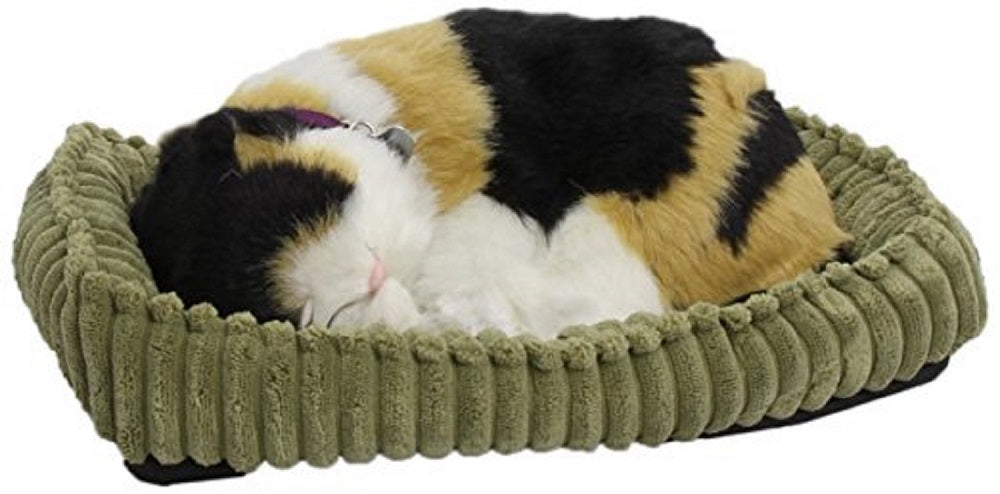 PERFECT CALICO PLUSH BREATHING HUGGABLE ANIMAL CAT REAL KITTEN SOFT KITTY TOY