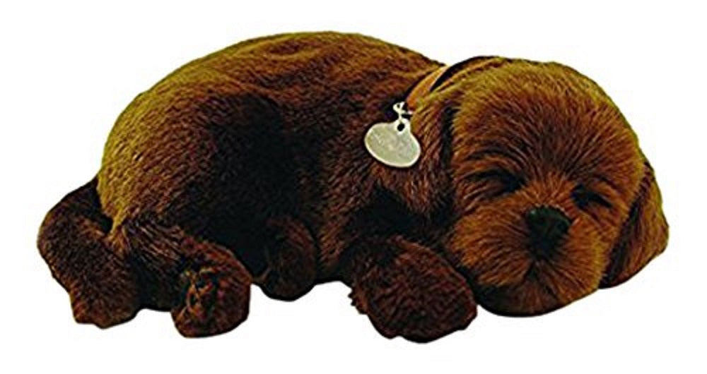 PERFECT PETZZZ CHOCOLATE LAB PLUSH PUPPY BREATHING HUGGABLE ANIMAL DOG REAL PET