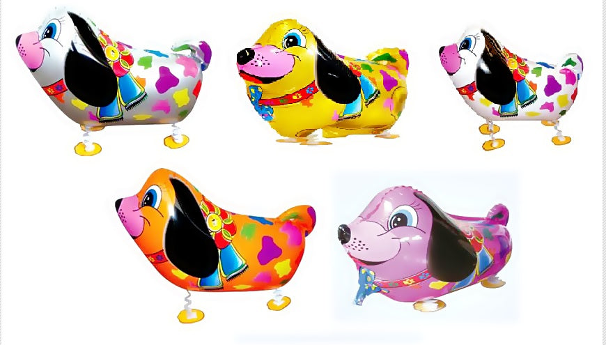 GIFT DEPOT® SET OF 5 COLORFUL DOG WALKING ANIMAL BALLOON PETS AIR FOIL HELIUM