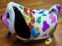 WHITE COLORFUL DOG WALKING BALLOON ANIMAL