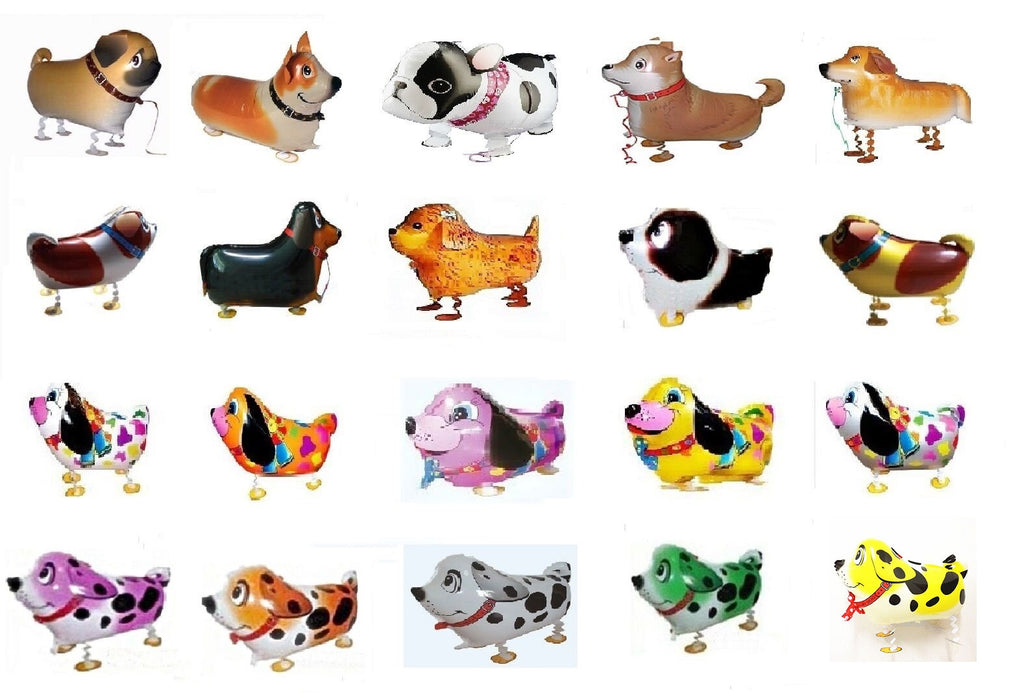 GIFT DEPOT® TM SET/LOT OF 15 PUPPY DOG WALKING ANIMAL BALLOON PETS FOIL HELIUM