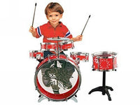 11pcs Musical Instrument Red Drum Bass Snares Toy Portable PLAYSET