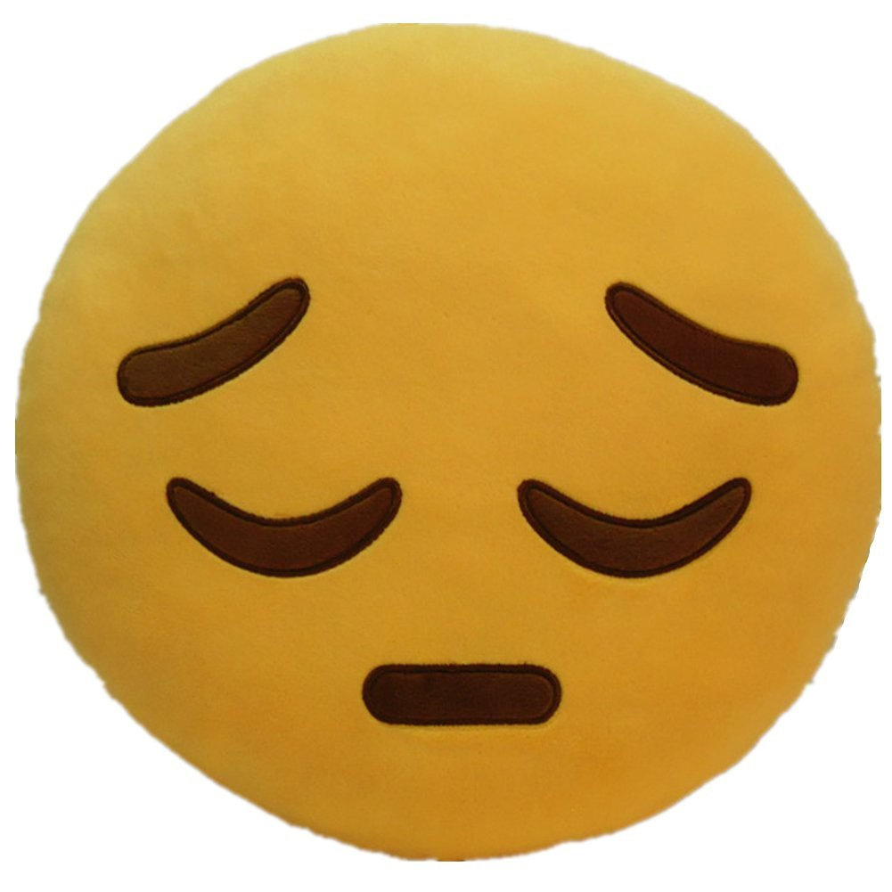 "SAD EMOTICON PLUSH PILLOW, 12"" INCHES"