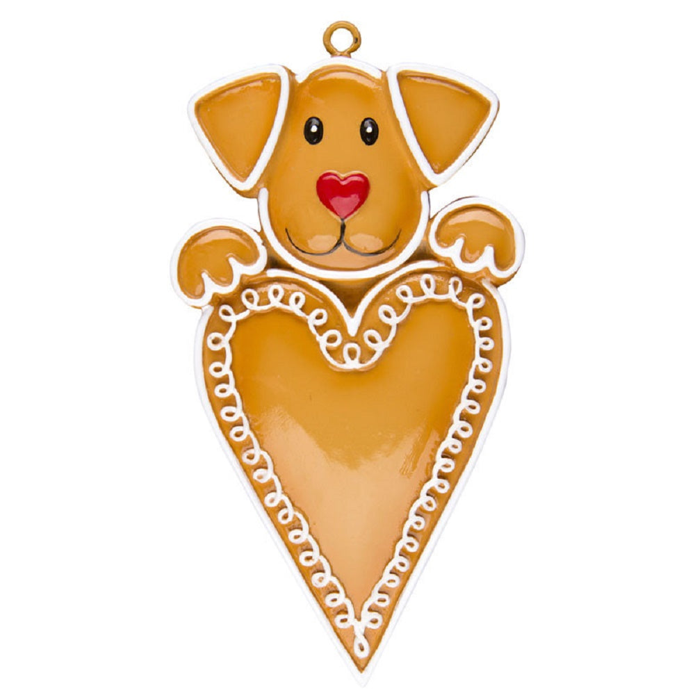 Gingerbread Dog with Heart Personalized Christmas Tree Ornament Xmas NEW