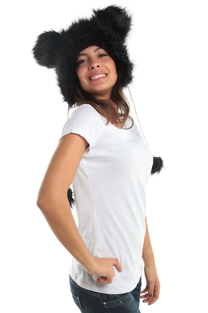 Black Funky Mouse Faux Fur Animal Hat Hood Winter Ski Miki Warmer Pet Plush Poms