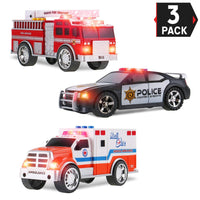 3-in-1 True Hero Vehicles Kids Toy Cars Emergency Vehicles 3-Button