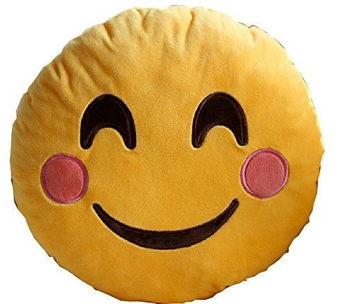 "HAPPY FACE EMOJI PILLOW, 12"" INCHES"