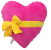 "PINK HEART WITH RIBBON EMOJI PILLOW, 11"" INCHES"