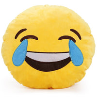 "LAUGH TO TEARS EMOJI PILLOW, 12"" INCHES"