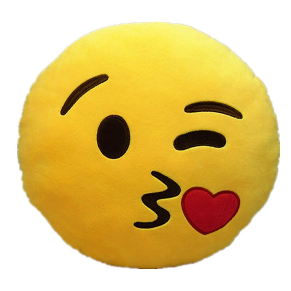 "THROWING KISS EMOTICON PLUSH PILLOW, 12"" INCHES"