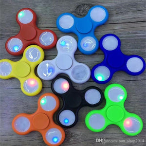 LED LIGHT REGULAR Fidget Hand Spinner w/Switch Stress Anxiety Relief Spins Glow