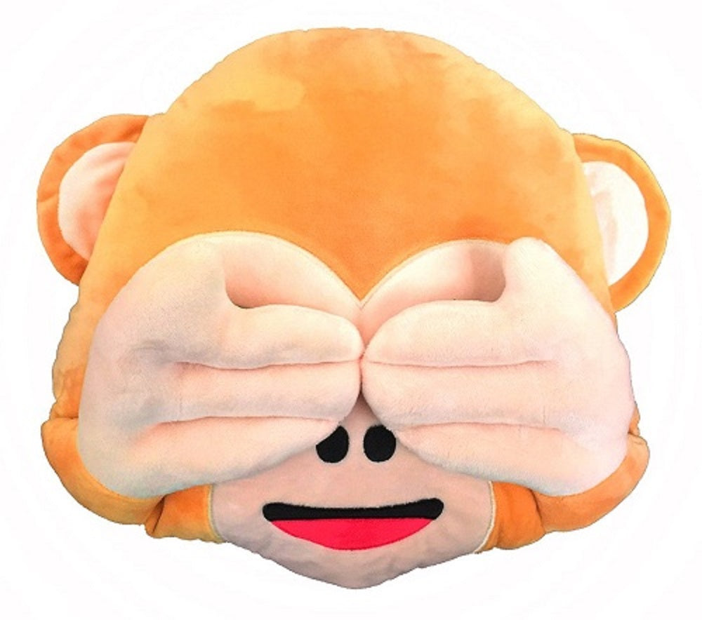 "NO SEE MONKEY EMOTICON PLUSH PILLOW, 17"" INCHES"
